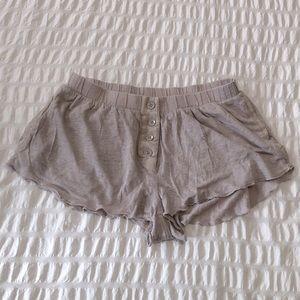 Wilfred Linen & Silk Ruffle Hem Shorts